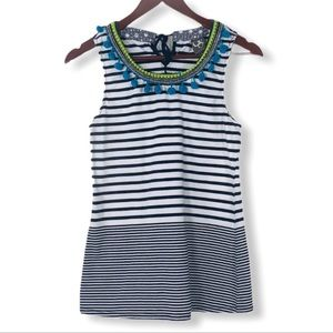 🌞One September Anthropologie striped tassel tank